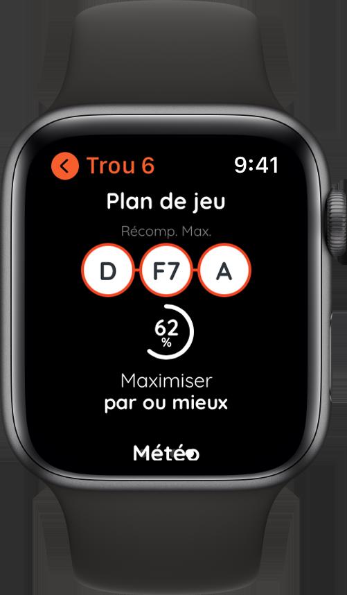 Plan de jeu de Golf sur Apple Watch