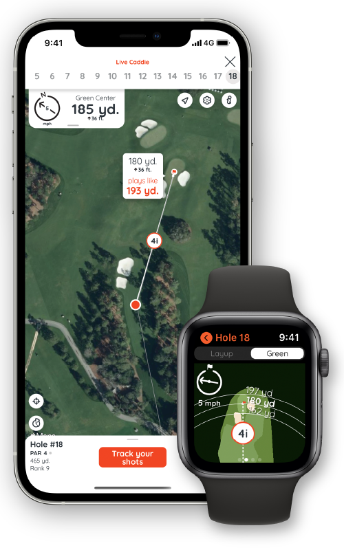 Golf with either iPhone or Apple Watch